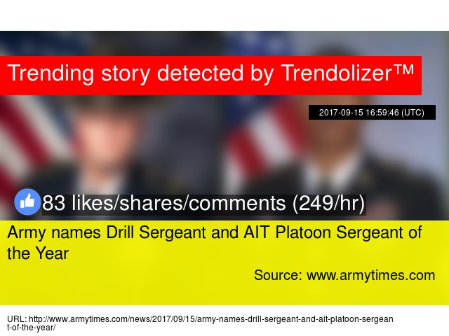Army names Drill Sergeant and AIT Platoon Sergeant of the Year