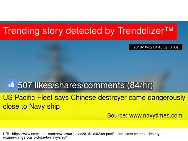 US Pacific Fleet says Chinese destroyer came dangerously